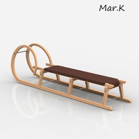 wooden snow sledge 3d model