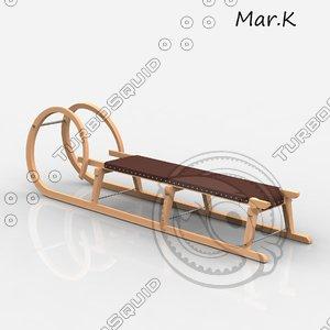 wooden snow sledge 3d model