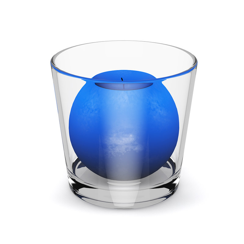 3d blue candle glass model