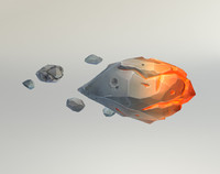 low-poly meteorites 3d obj