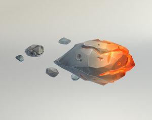 low-poly meteorites 3d model
