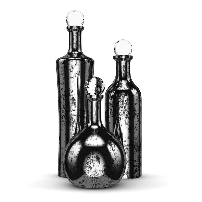 3d model of metal bottles