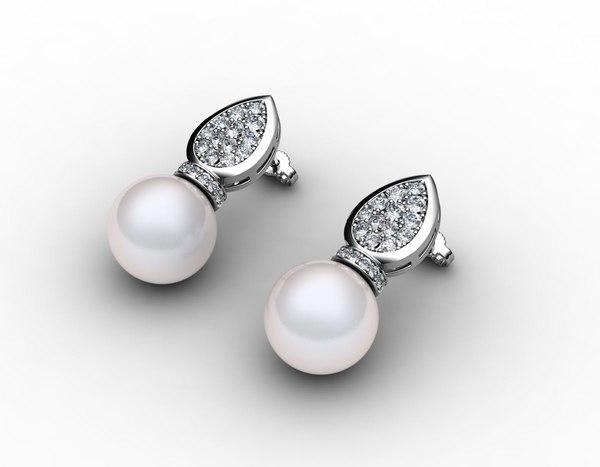3dm earrings pearls diamond