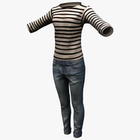 3ds max female casual clothes