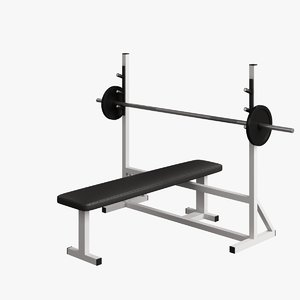 fitness supine bench 002 3d max