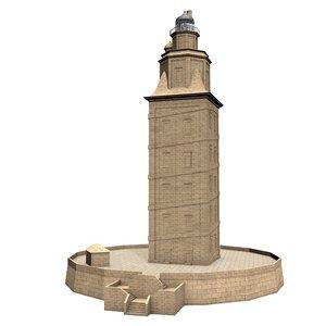 3d model lighthouse tower hercules