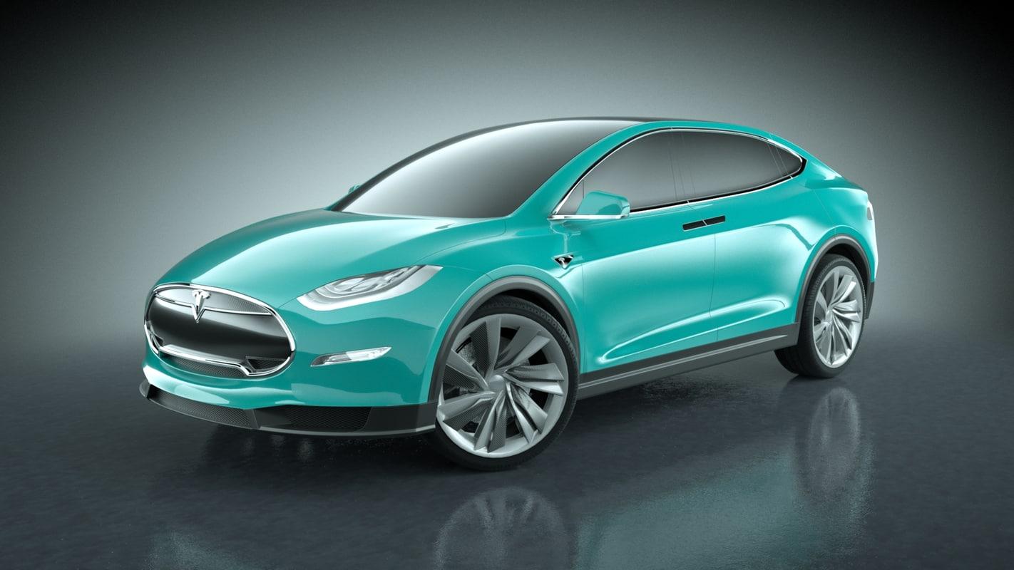 2013 tesla x modeled 3d 3ds