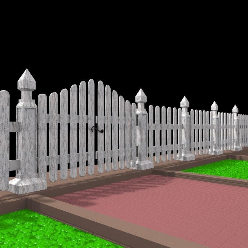 3d model wall door gate