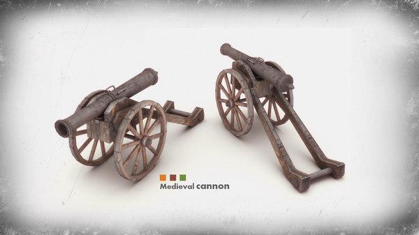 3d medieval cannon model