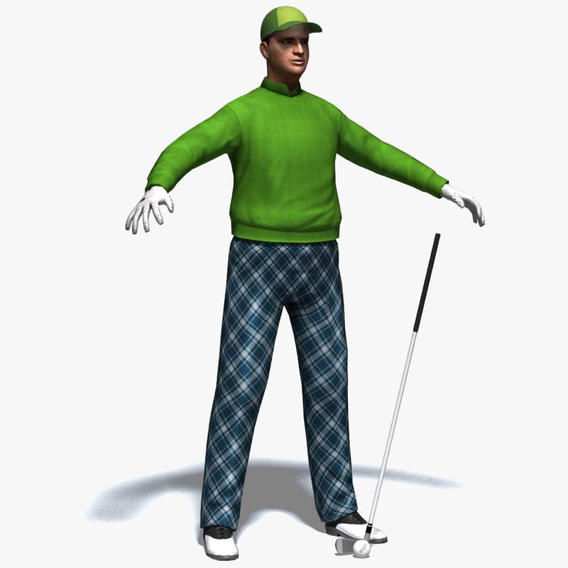 obj realistic golfer golf club