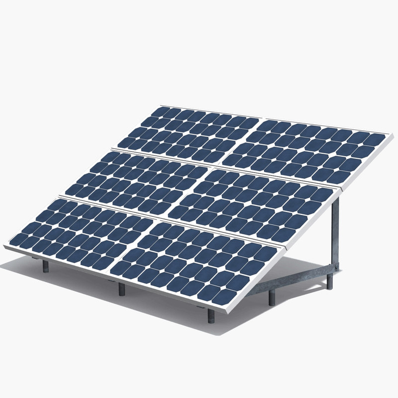 realistic solar panel 3d max