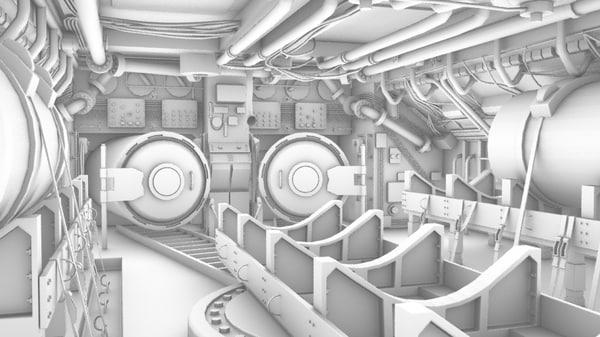 3d submarine interior model