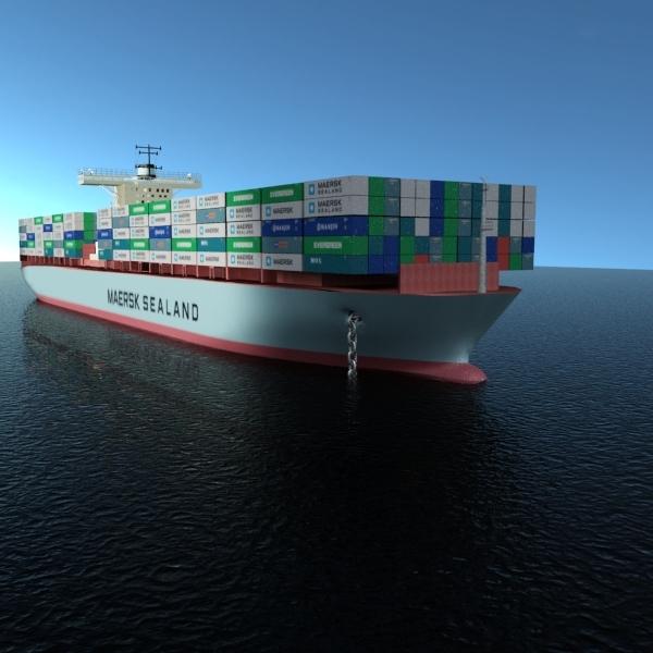 maersk cargo ship 3d max