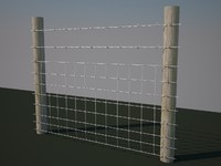barbed wire fence 3d model