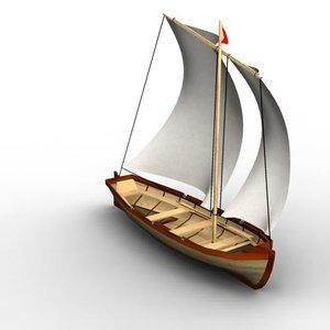 3d yawl oars sail model