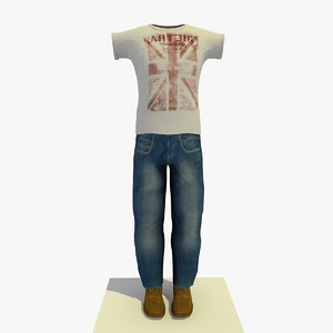 man casual clothes t-shirt 3ds