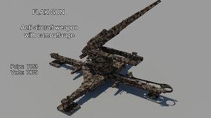 3d model flak gun military camouflage