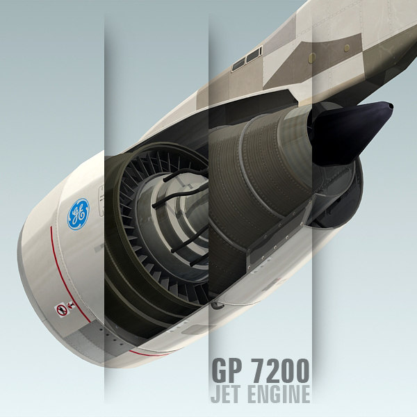 3d model gp 7200 jet engine
