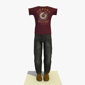 man clothes t-shirt 3d model