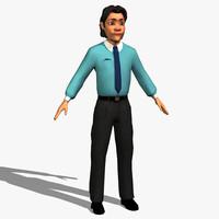 cartoon man character 3d max