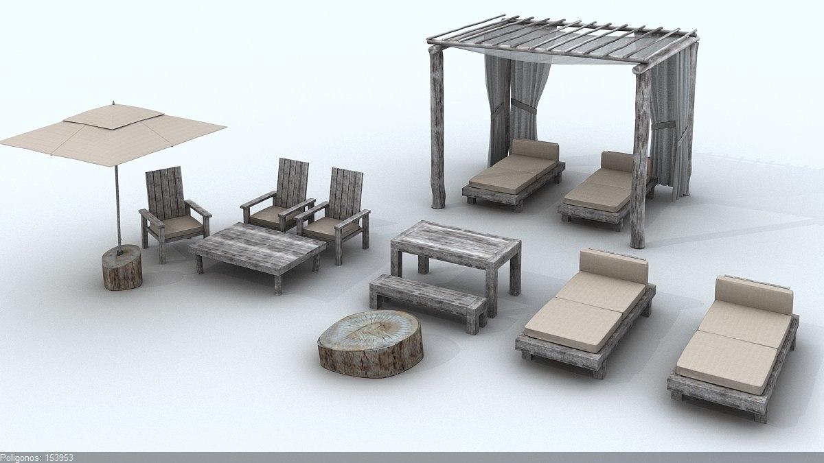 3d beach rustic set model