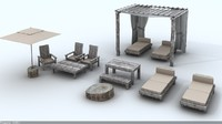 3d beach rustic set model