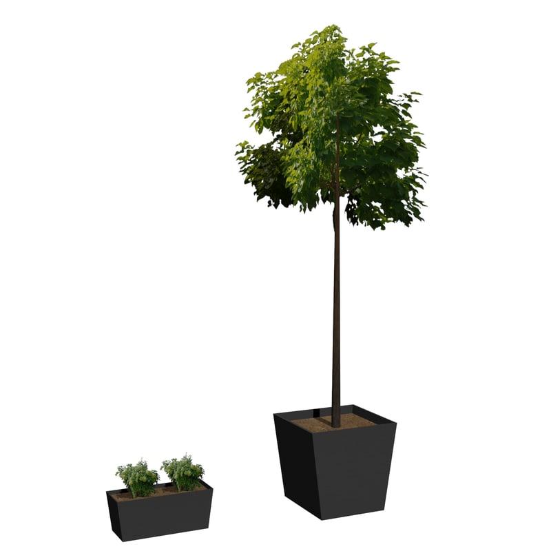 flowerpot m-01 3d max