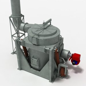crucible furnace melting metal 3d dxf