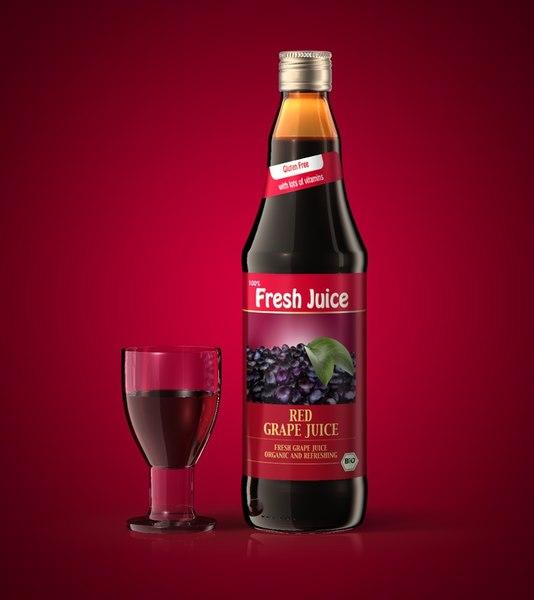 juice bottle glass 3d model