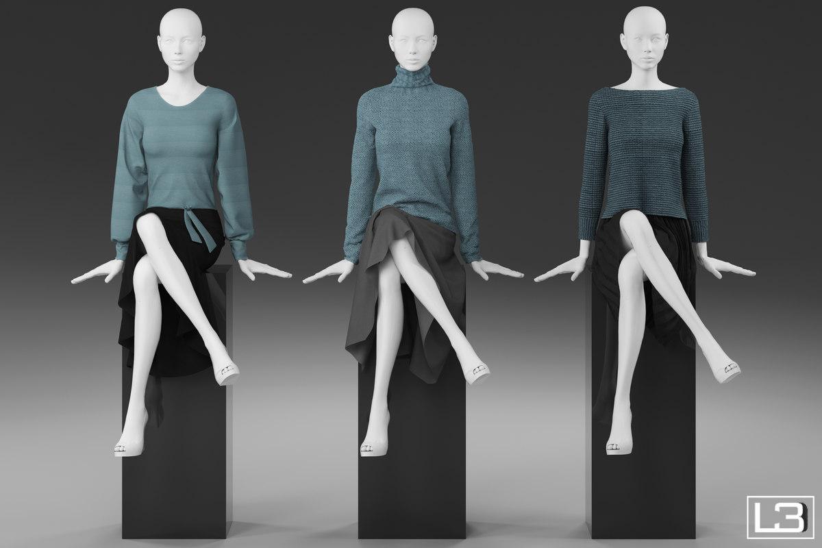 sitting woman mannequin 3d model