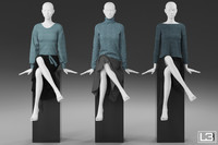 sitting woman mannequin 3d model