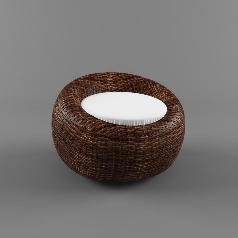 3d garden chair cane model