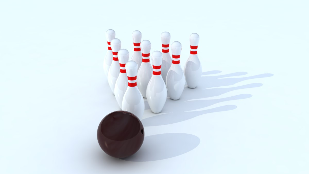 3d model of bowling ball pins strike