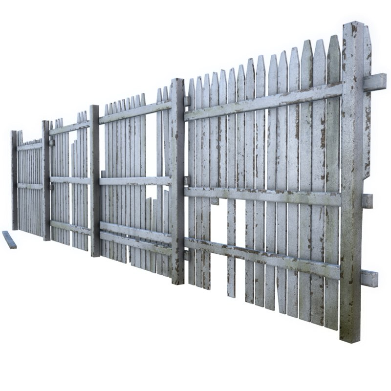3d model broken fence for 3d fence