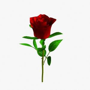 free obj model rose lightwave petal