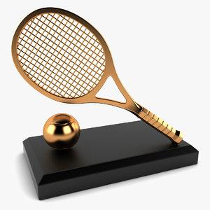 3d tennis trophy