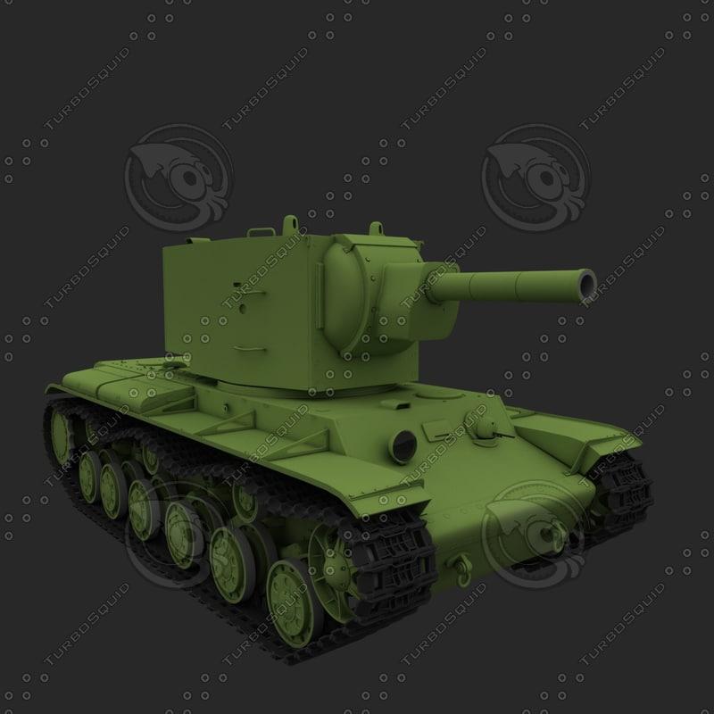 kv-2 soviet tank 3d max