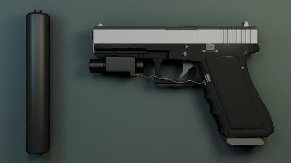 glock bullets silencer obj
