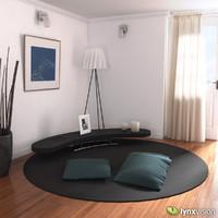 carpet cushions coffee table 3d model