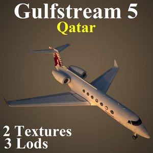 gulfstream 5 qtr 3d max