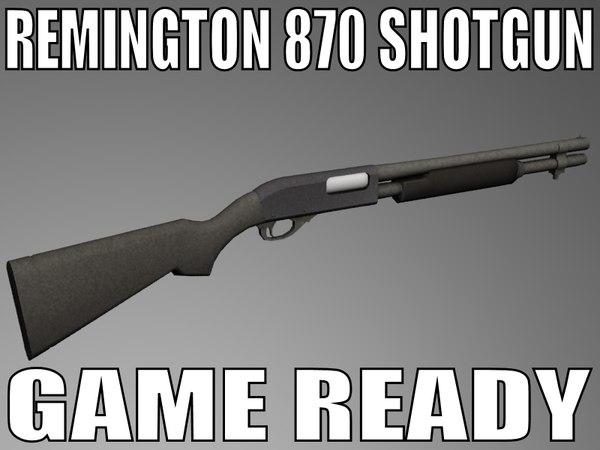 remington 870 shotgun 3d model