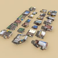 3d tin shack buildings town