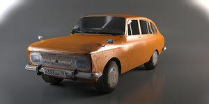 russian moskvich kombi 3d model