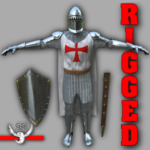 3d knight medieval character rigged