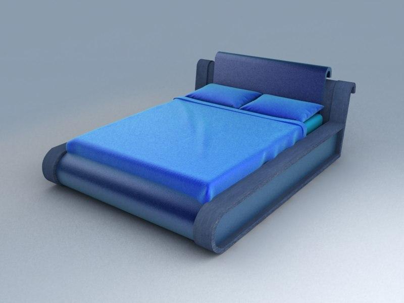 blue bed set 3d model