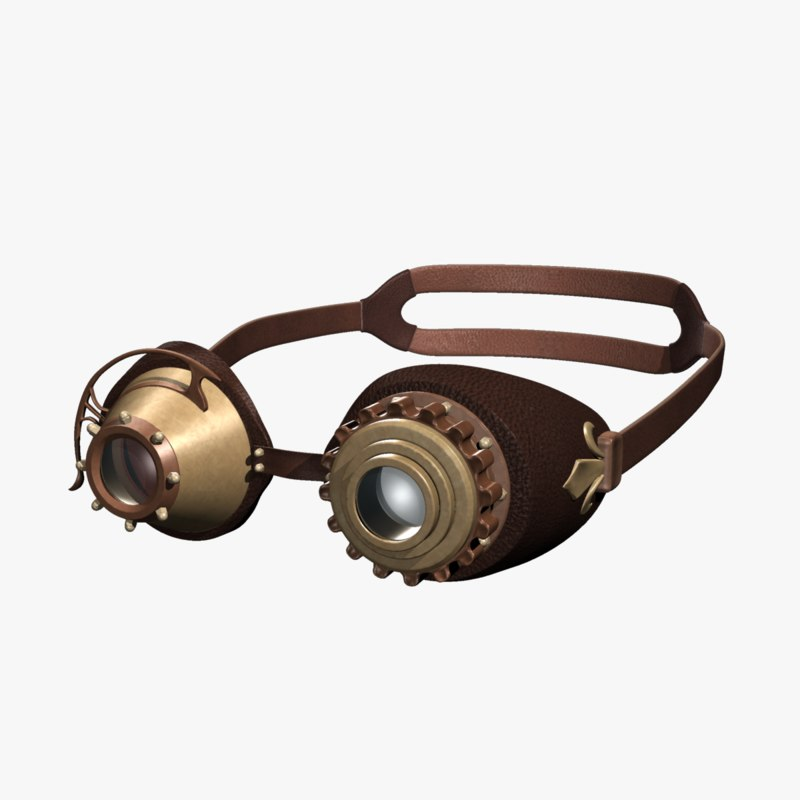 steam punk goggles 3d model