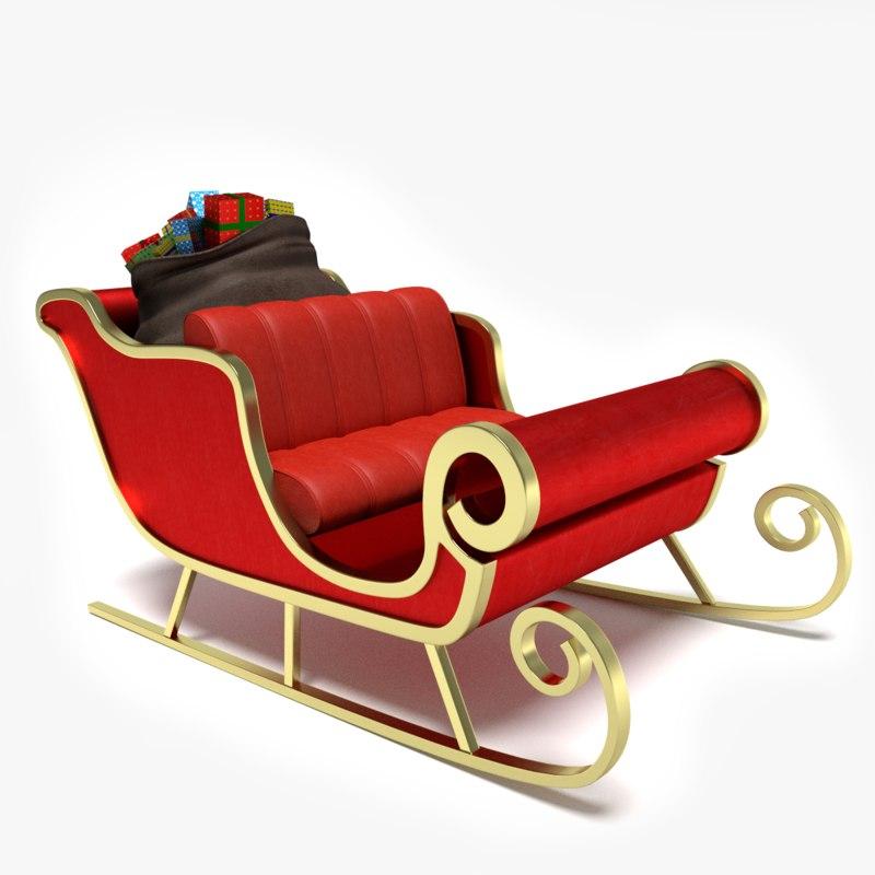 3d model santa s sleigh