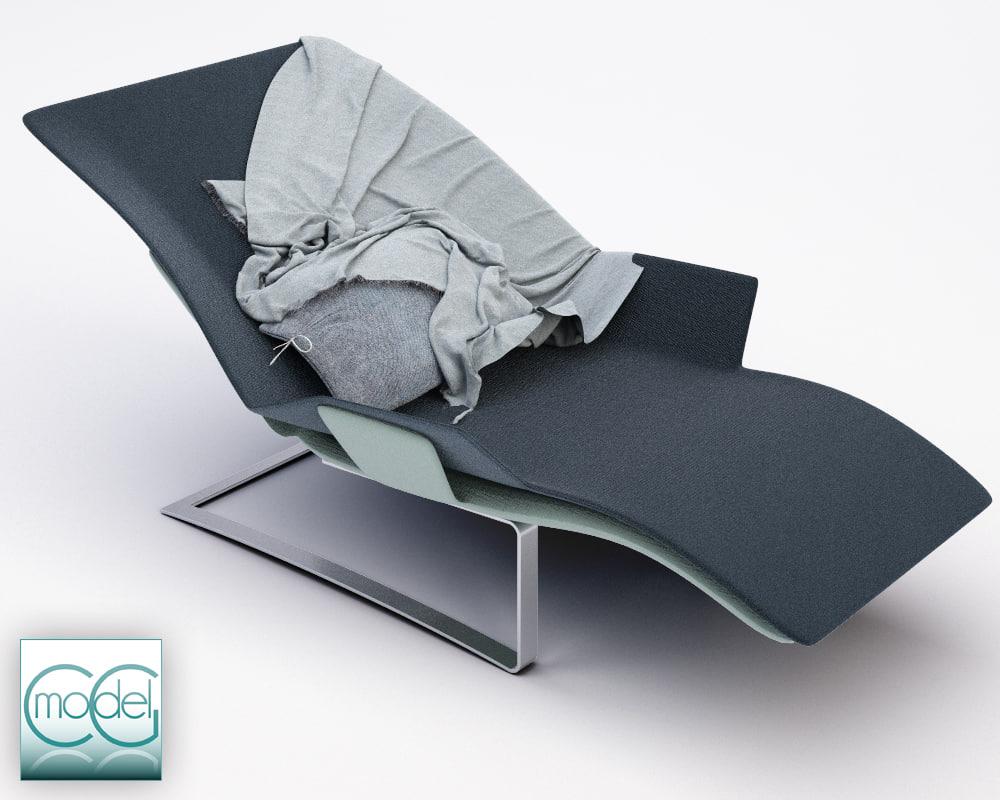 3d model of chaise blanket pillows