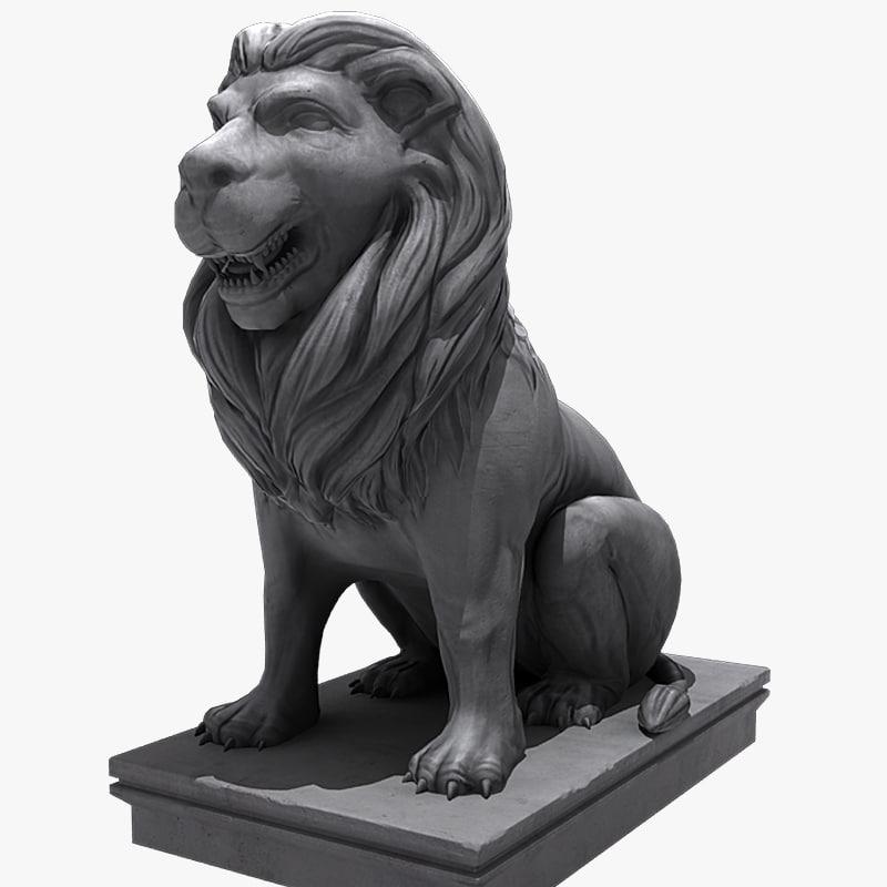 3d lion sitting statue