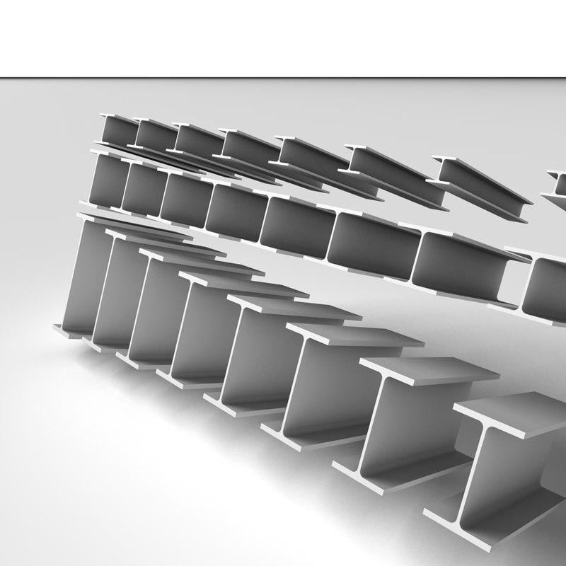 metal beams h e 3d c4d